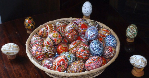 Some of the Romanian decorated eggs which decorate our home in Yorkshire