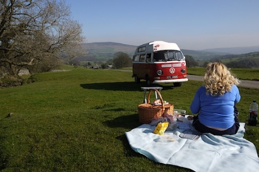 Lofty, my VW crossover camper, enjoys a picnic between Bolton Abbey and Embsay.