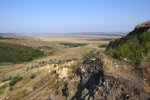 Looking towards the River Prut, the border between Romania and the Republic of Moldova, from the village of Popricani in Iasi 'county'