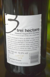 Label on a bottle of 3 hectare feteasca neagra Murfatlar Romanian wine