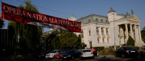 The 'national theatre', Iasi, with street banner advertising opera