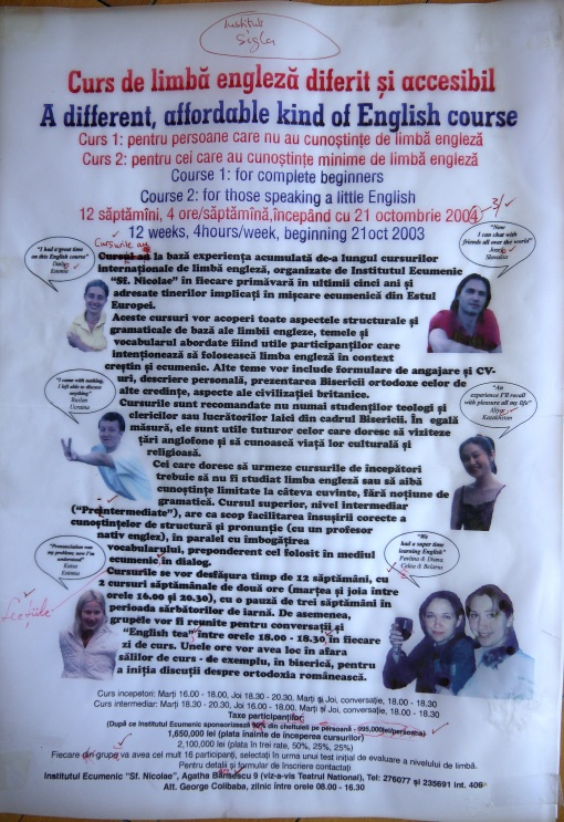 Poster for English course, Ecumenical Institute, Iasi, 2004
