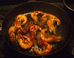 Cooked marinaded prawns
