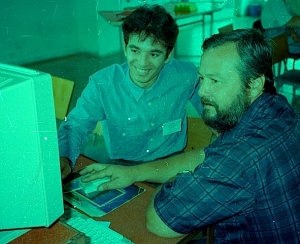 Two students on the week long course I did at the University of Bratislava, Slovakia, on using computers and doing internet projects for teaching English