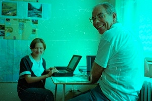 The special 'Allstars' project room from we did internet teaching projects using first one, later (here) two, 'obsolete' laptops. This is 'Allstar' Daniela with me, 1994