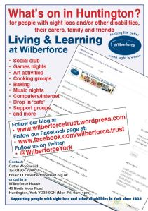 Poster promoting the new Wilberforce Trust 'Living & Learning Zone' blog, Facebook page and Twitter