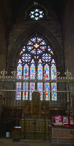 One of the beautiful stained glass windows in the cathedral