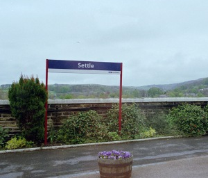 The place name sign on Settle station