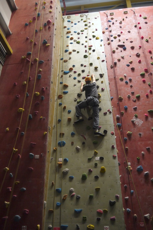 Gordon, blind and with severe brain damage, nearing to top of a climbing wall on 27 June