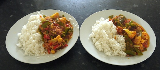 Steamed mixed vegetables in a tomato and lentil base, with plain rice