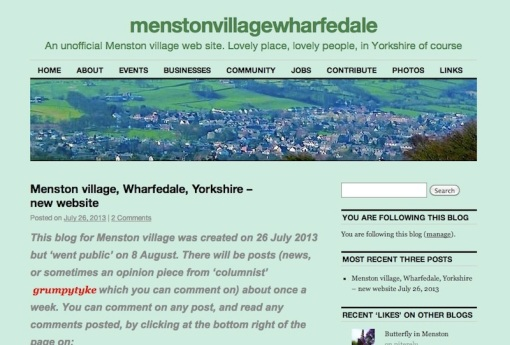 Menston village blog; screenshot with first post