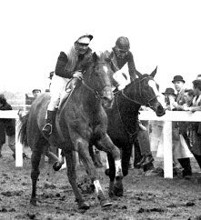 Ayala (left) winning the Grand National on 31 March 1963