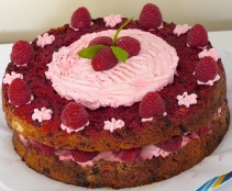 The finished beetroot cake with mascarpone and raspberries