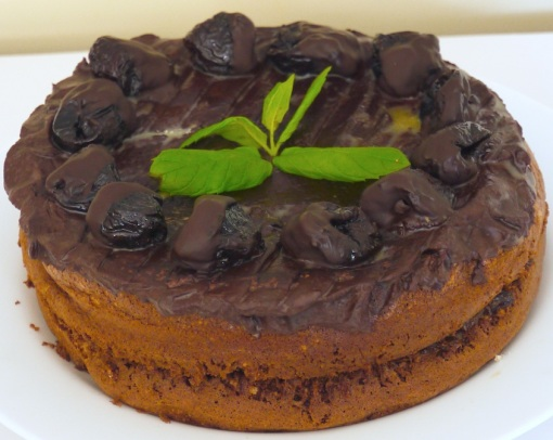 The finished chocolate cake with prunes soaked in armagnac