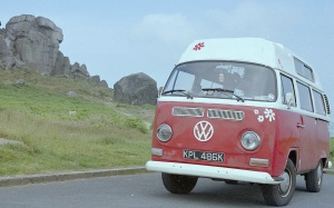 Lofty, VW camper, at the Cow & Calf rocks, Ilkley, 10 minutes from home