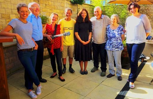 After sorting out the programme, Writing on the Wharfe members at the usual meeting place, the Menstone club in Menston. L to R: Becky, David, Emma, Bob, Ruxandra, me, Marjorie and Kelly