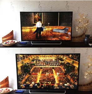 Our 'music corner' at home, showing tv with Vienna New Year concert 2017, panpipes sitting on the Yamaha 'piano'