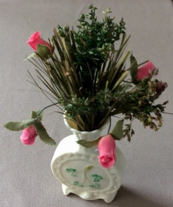 Small Belleek vase with flowers