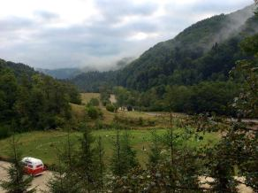 Lofty in Romania two years ago; view from our monastery bedroom window.