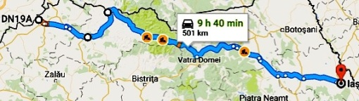 Google map of route from Petea to Iasi