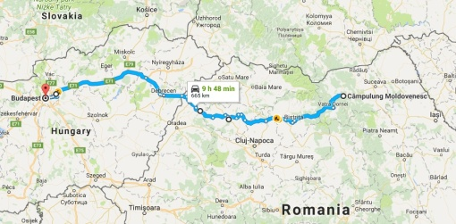 Map of route we aim to follow from Campulung Moldovenesc to Budapest