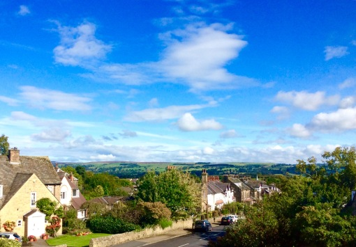 View from our bedroom window this morning; it looks over the Wharfe valley