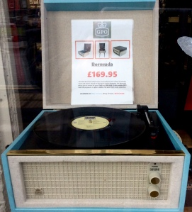 A photo of the repro Dansette in the shop window