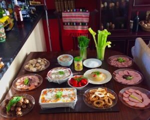 Table with Romanian food, awaiting guests