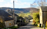 Down the hill through the village ...