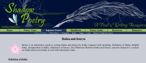 A screenshot of the haiku and senryū page on the Shadow Poetry site