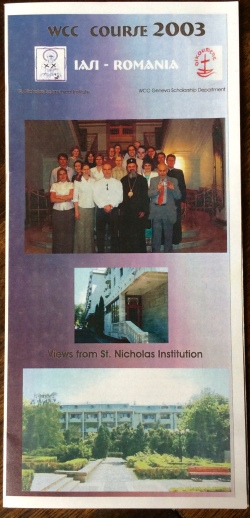 Picture of A leaflet about thr course showing Students with (then) Archbishop Daniel, with me on his left.