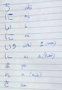 The result of my first couple of Japanese lessons, written in the same exercise book as the story posted here