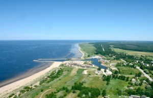 Aerial photo of the beach at Salacgrīva