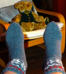 Picture of the Latvian natural wool socks on my feet