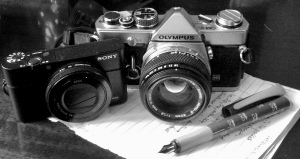 The little Sony delivers amazing quality for its size, acquired mainly for 'blipfoto', with one of my favourite classic camera marques but with the tools of my first love, pen and paper for writing