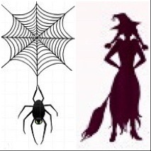 Silouttes of small spider and web with witch