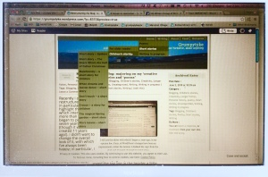 A screen shot of a preview screen showing the menu structure of my reorganised blog.