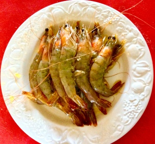 Marinated prawns ready for cooking