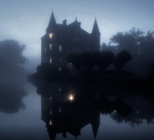 Picture of a chateau at night