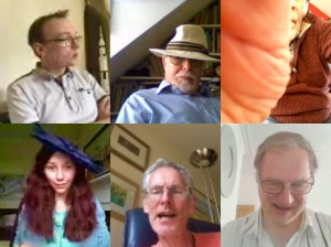 Screen shot of the six club members in the video chat