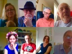 Eight club members on Messenger video chat this morning
