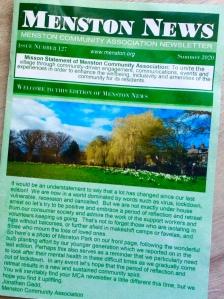 Front cover of Menston News showing Menston park